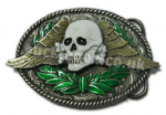SKULL, WINGS & WREATH belt buckle with display stand